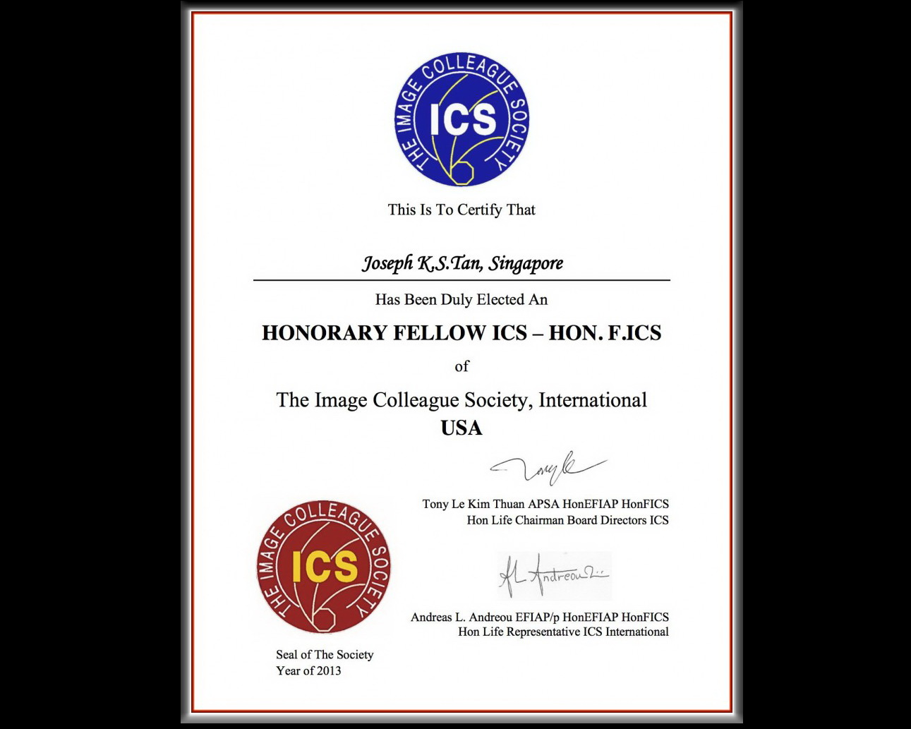 Joseph KS Tan – Honorary Fellow ICS ( HON.F.ICS )