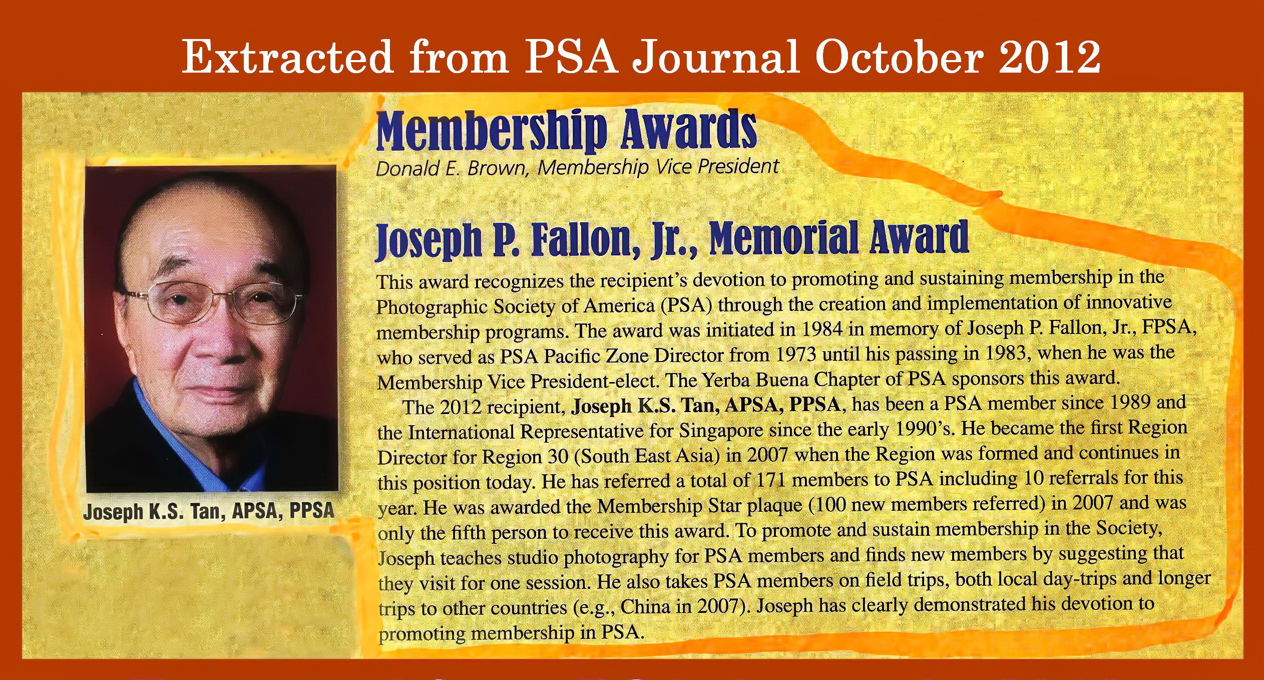 Testimonial from Donald E Brown(Membership Vice President For PSA)
