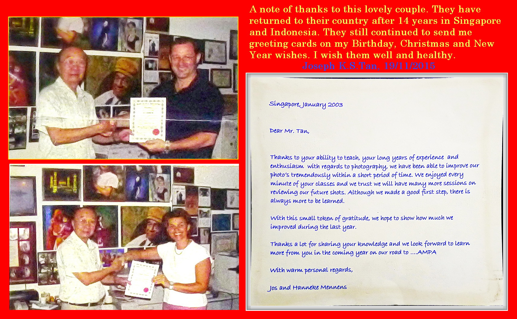 Testimonial From Jos and Hanneke Mennens